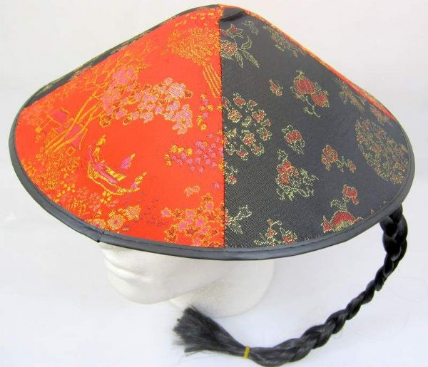 Chinese Field Worker Round Hat Decorated Asian Coolie Thai Oriental chinaman
